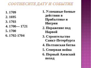 1. 1709 2. 1695 3. 1703 4. 1700— 1721 5. 1700 6. 1702-1704 1. Успешные боевые