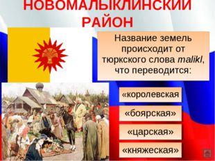 НОВОМАЛЫКЛИНСКИЙ РАЙОН Название земель происходит от тюркского слова malikl,