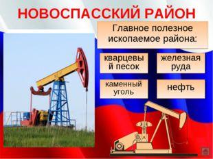 НОВОСПАССКИЙ РАЙОН Главное полезное ископаемое района: каменный уголь нефть к