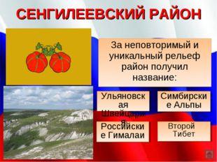 СЕНГИЛЕЕВСКИЙ РАЙОН За неповторимый и уникальный рельеф район получил названи