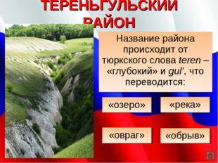 ТЕРЕНЬГУЛЬСКИЙ РАЙОН Название района происходит от тюркского слова teren – «г