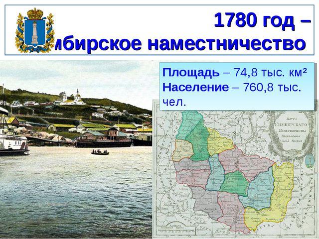 1780 год – Симбирское наместничество Площадь – 74,8 тыс. км² Население – 760,...