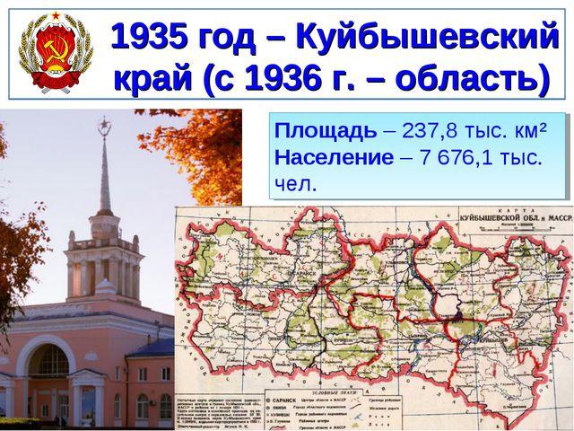 1935 год – Куйбышевский край (с 1936 г. – область) Площадь – 237,8 тыс. км² Н...