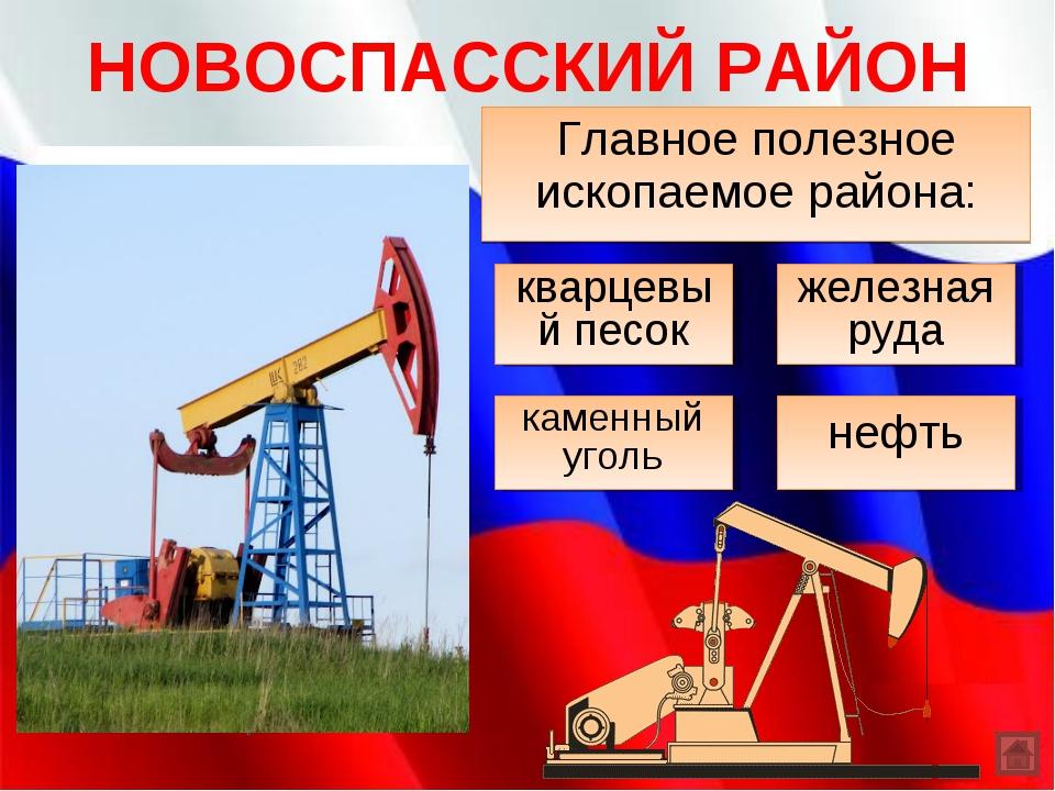 НОВОСПАССКИЙ РАЙОН Главное полезное ископаемое района: каменный уголь нефть к...