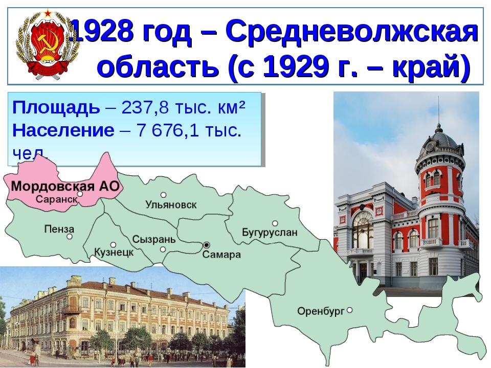 1928 год – Средневолжская область (с 1929 г. – край) Площадь – 237,8 тыс. км²...