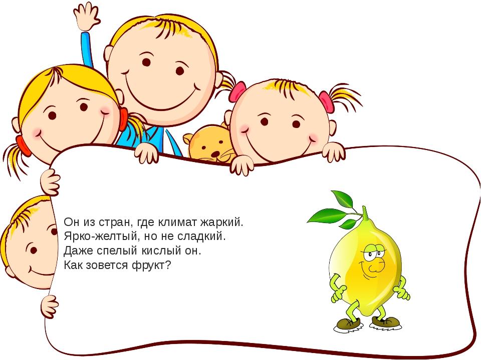 Он из стран, где климат жаркий. Ярко-желтый, но не сладкий. Даже спелый кислы...