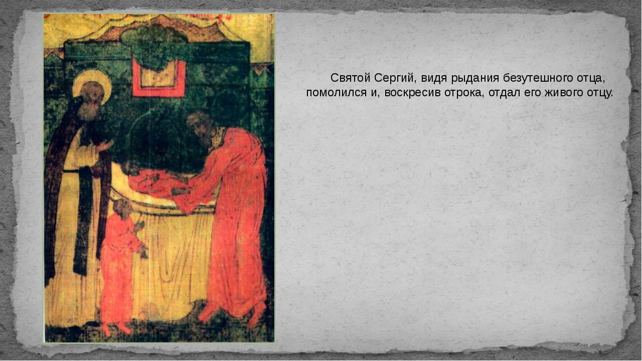 Святой Сергий, видя рыдания безутешного отца, помолился и, воскресив отрока,...