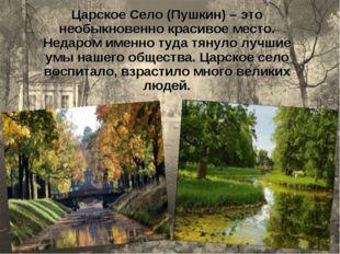 Царское Село (Пушкин) – это необыкновенно красивое место. Недаром именно туда