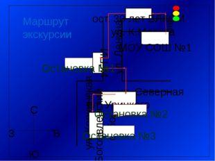 Условные знаки: Направление движения Светофор Места остановок Пешеходный пере