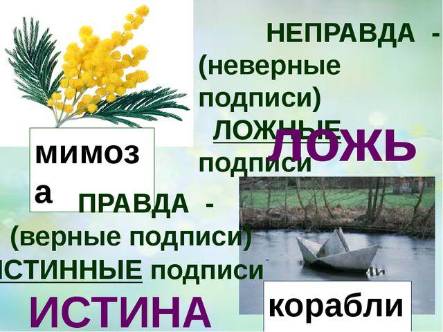 НЕПРАВДА - (неверные подписи) ЛОЖНЫЕ подписи ложь роза мимоза машина корабли...