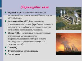 Парниковые газы Водяной пар - основной естественный парниковый газ, ответстве
