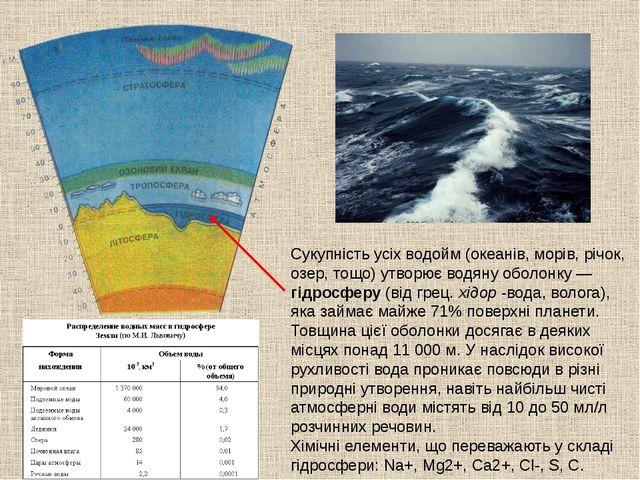 Сукупність усіх водойм (океанів, морів, річок, озер, тощо) утворює водяну обо...