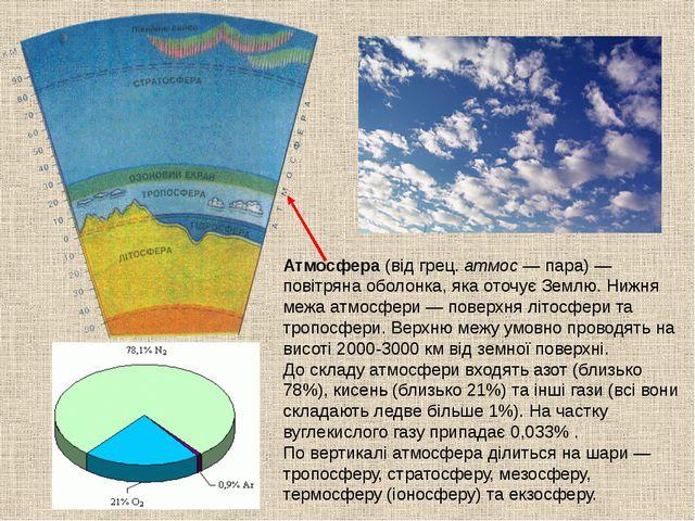 Атмосфера (від грец. атмос — пара) — повітряна оболонка, яка оточує Землю. Ни...