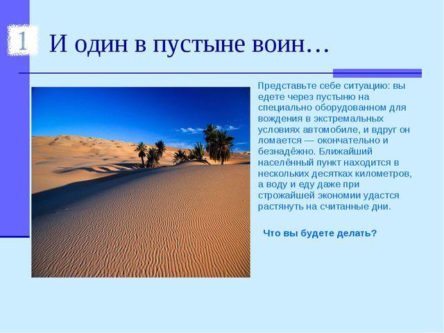 И один в пустыне воин… Представьте себе ситуацию: вы едете через пустыню на с...