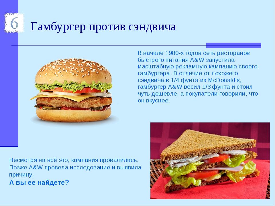 Гамбургер против сэндвича В начале 1980-х годов сеть ресторанов быстрого пита...