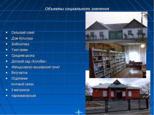 Сельский совет Дом Культуры Библиотека Узел связи Средняя школа Детский сад