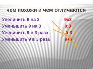 чем похожи и чем отличаются Увеличить 9 на 3 9х3 Уменьшить 9 на 3 9:3 Увеличи
