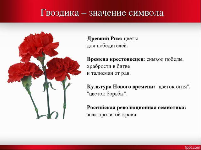 Гвоздика – значение символа Древний Рим: цветы для победителей. Времена крест...