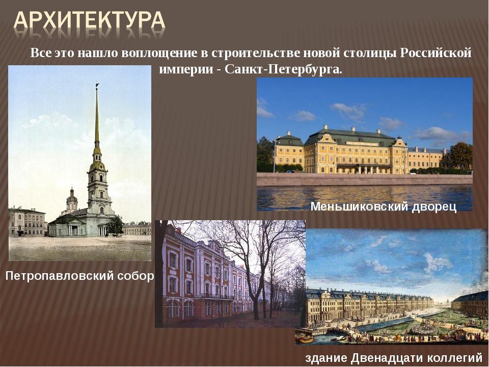 Петропавловский собор здание Двенадцати коллегий Меньшиковский дворец Все это...