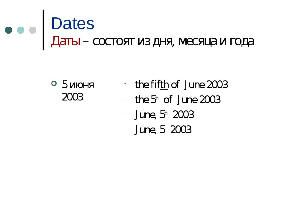 Dates Даты – состоят из дня, месяца и года 5 июня 2003 the fifth of June 2003...