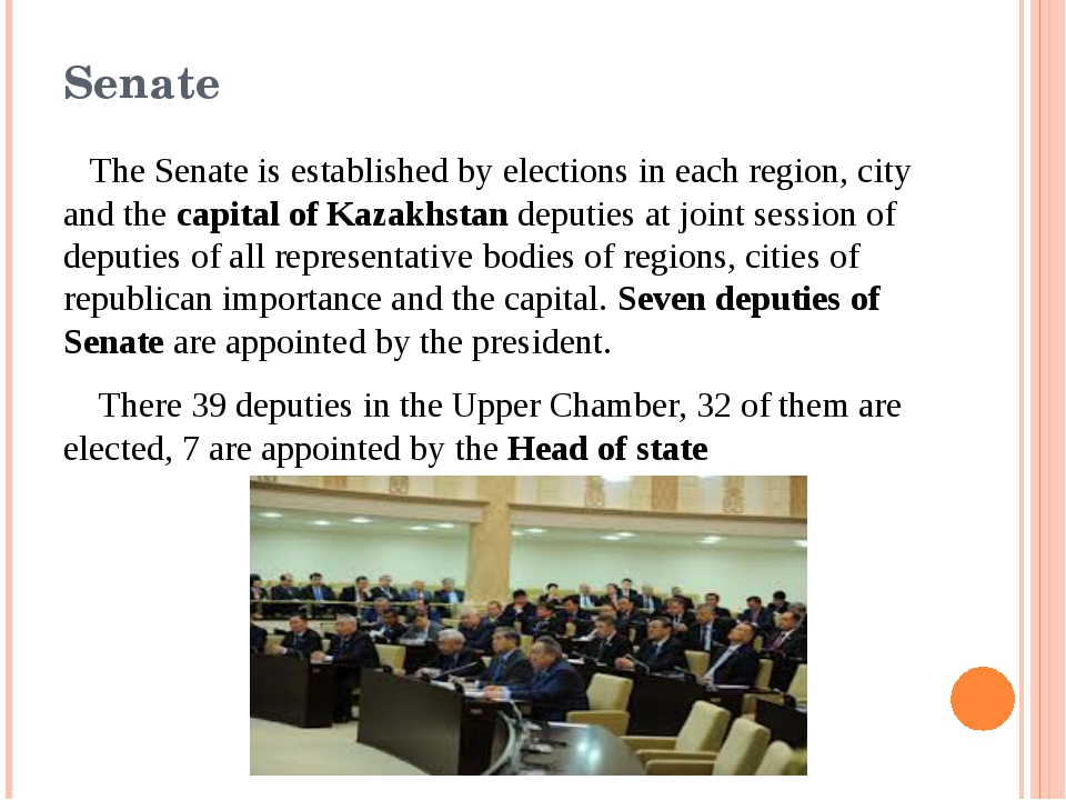 Senate The Senate is established by elections in each region, city and the ca...