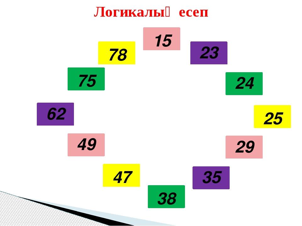 Логикалық есеп 15 23 24 25 29 35 38 47 49 62 75 78