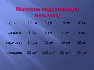 длина12 см3 дм15 см10 см ширина5 см6 см4 см8 см периметр34 см72 см