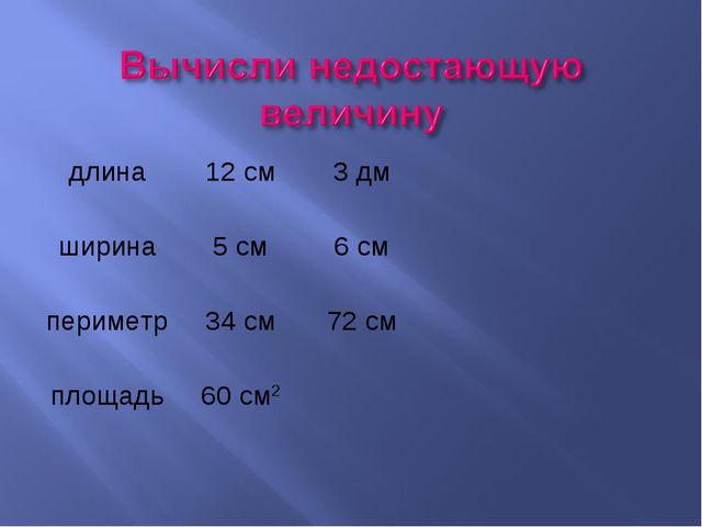 длина12 см3 дм ширина5 см6 см периметр34 см72 см площадь60 см2