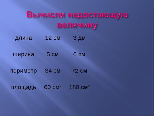 длина12 см3 дм ширина5 см6 см периметр34 см72 см площадь60 см21...