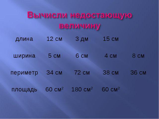 длина12 см3 дм15 см ширина5 см6 см4 см8 см периметр34 см72 см38 см...