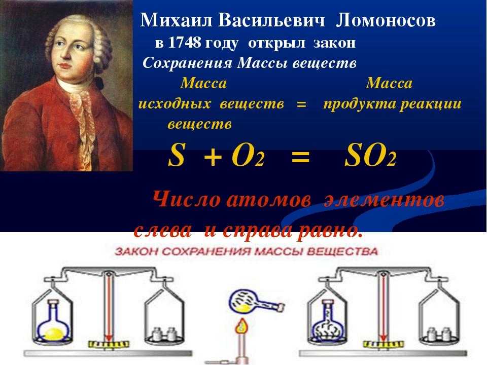 Михаил Васильевич Ломоносов в 1748 году открыл закон Сохранения Массы вещест...