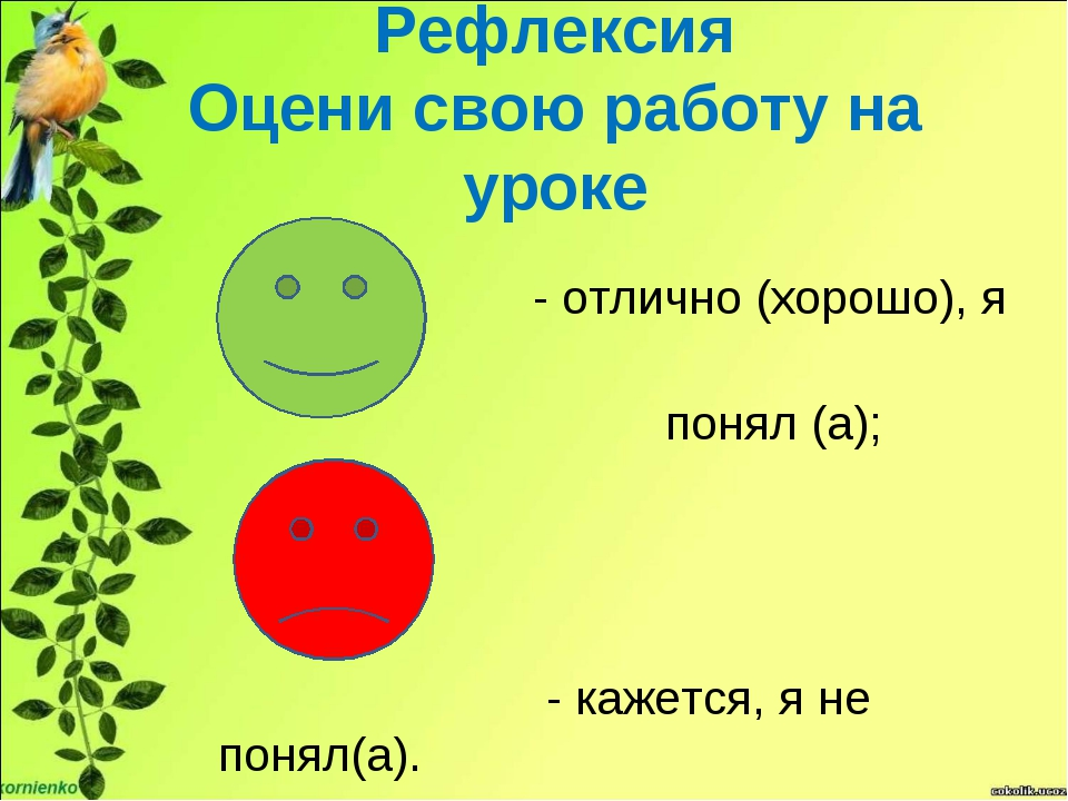 Рефлексия Оцени свою работу на уроке - отлично (хорошо), я понял (а); - каже...