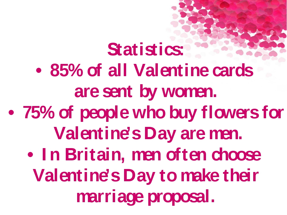 Statistics: •85% of all Valentine cards are sent by women. •75% of people...