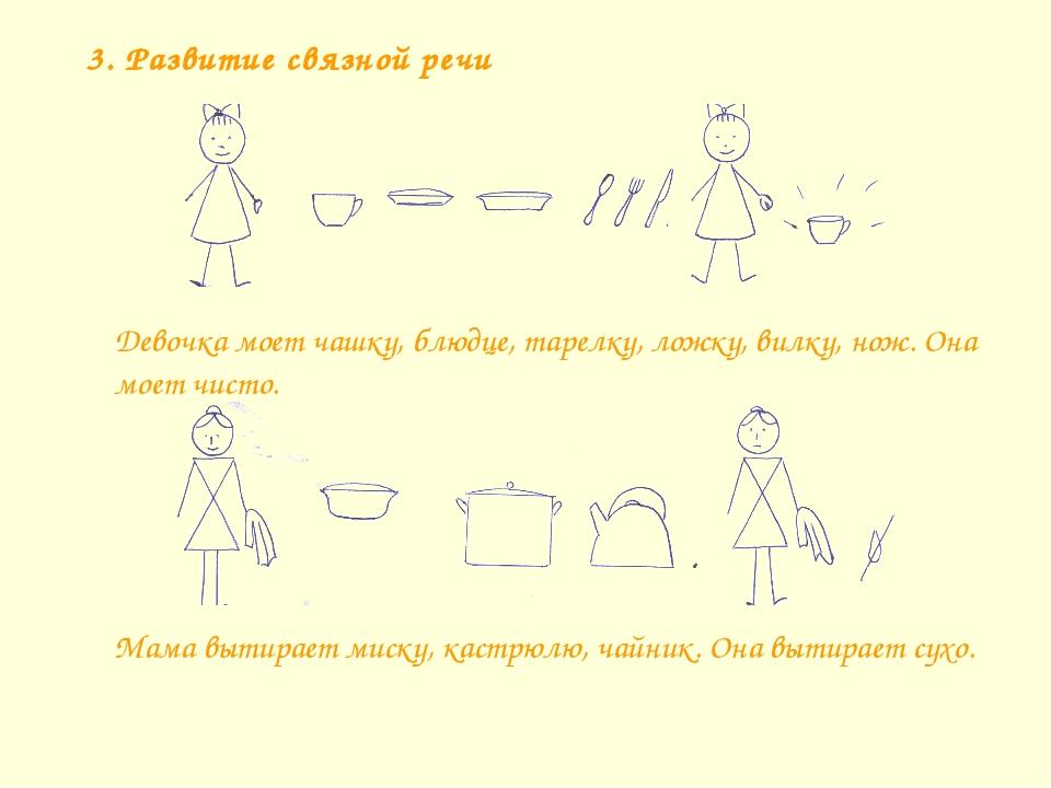 3. Развитие связной речи Мама вытирает миску, кастрюлю, чайник. Она вытирает...