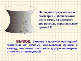 ВЫВОД: Заменив V постулат евклидовой геометрии на аксиому, Лобачевский прише