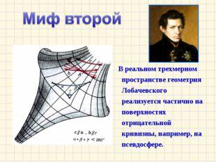 В реальном трехмерном пространстве геометрия Лобачевского реализуется частич