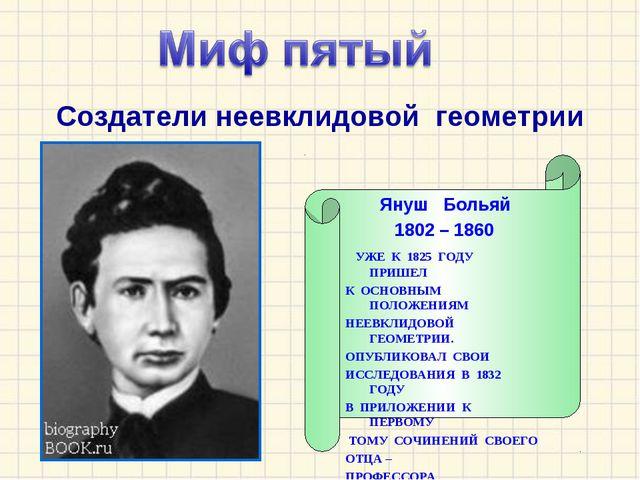 Создатели неевклидовой геометрии Януш Больяй 1802 – 1860 УЖЕ К 1825 ГОДУ ПРИШ...