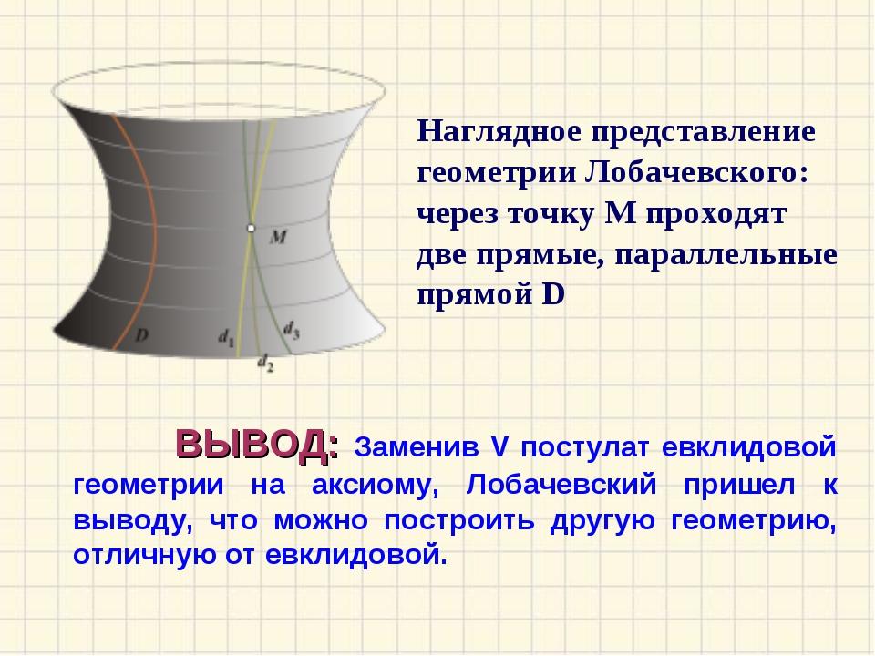 ВЫВОД: Заменив V постулат евклидовой геометрии на аксиому, Лобачевский прише...