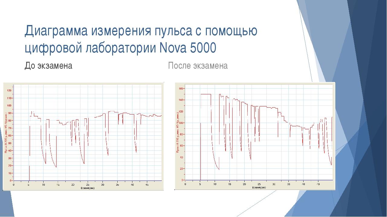 Диаграмма измерения пульса с помощью цифровой лаборатории Nova 5000 До экзаме...