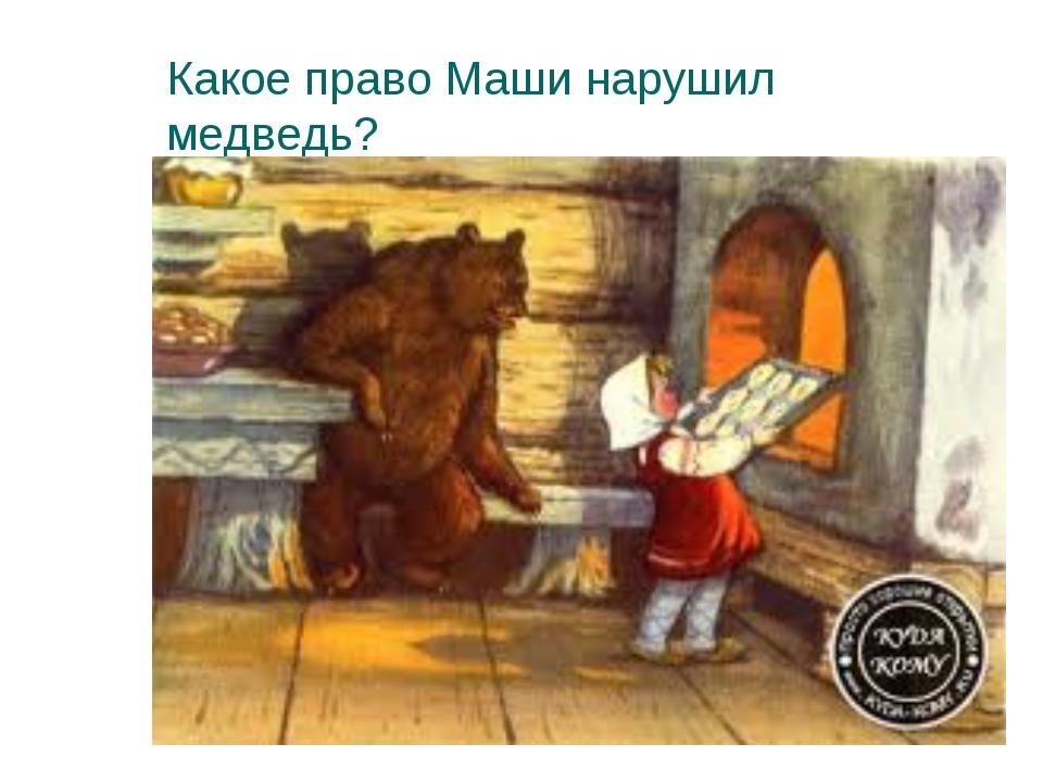Какое право Маши нарушил медведь?
