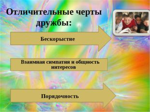 Отличительные черты дружбы: Бескорыстие Взаимная симпатия и общность интересо