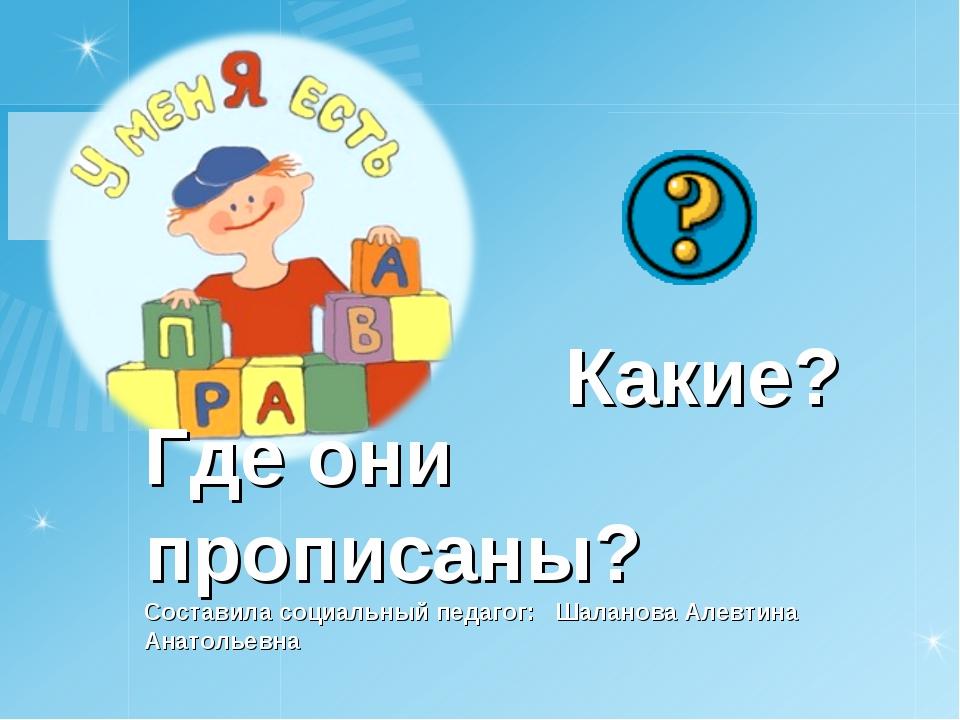 Какие? Где они прописаны? Составила социальный педагог: Шаланова Алевтина Ана...