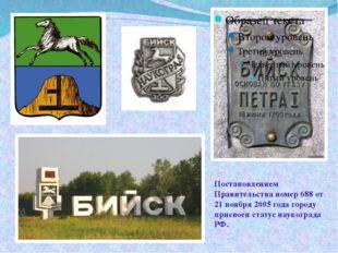 Постановлением Правительства номер 688 от 21 ноября 2005 года городу присвоен