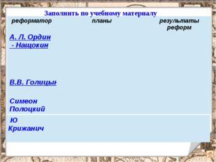 реформатор планы результаты реформ А. Л.Ордин-Нащокин союз с РечьюПосполитой