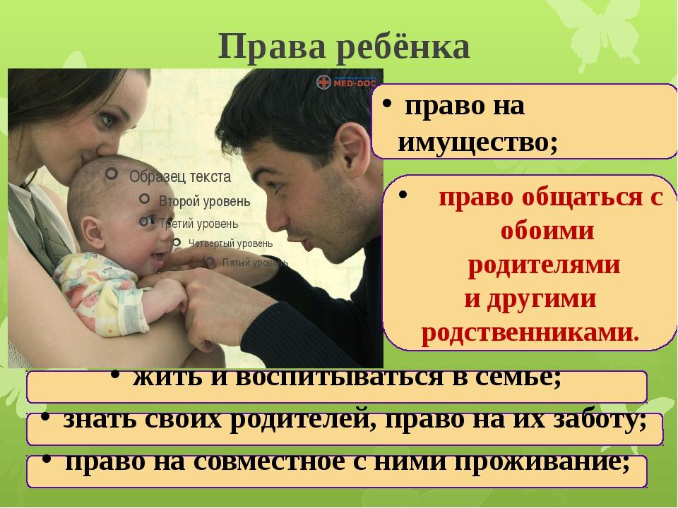 Права ребёнка жить и воспитываться в семье; знать своих родителей, право на и...
