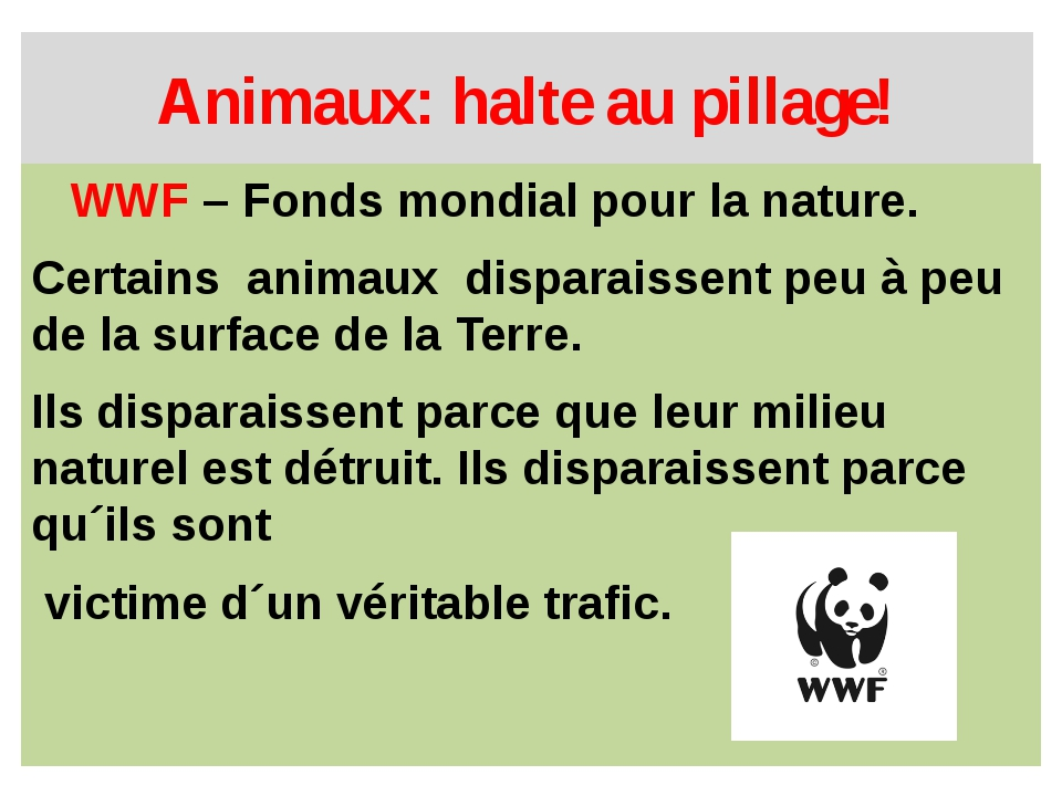 Animaux: halte au pillage! WWF – Fonds mondial pour la nature. Certains anima...