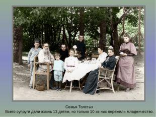 Семья Толстых Всего супруги дали жизнь 13 детям, но только 10 из них пережили