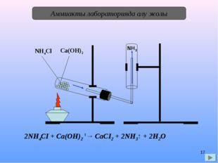 * Аммиакты лабораторияда алу жолы NH4Cl Ca(OH)2 NH3 2NH4СІ + Са(ОН)2 t→ СаСІ2