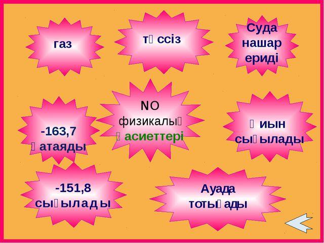 NO физикалық қасиеттері түссіз Қиын сығылады -151,8 сығылады -163,7 қатаяды С...