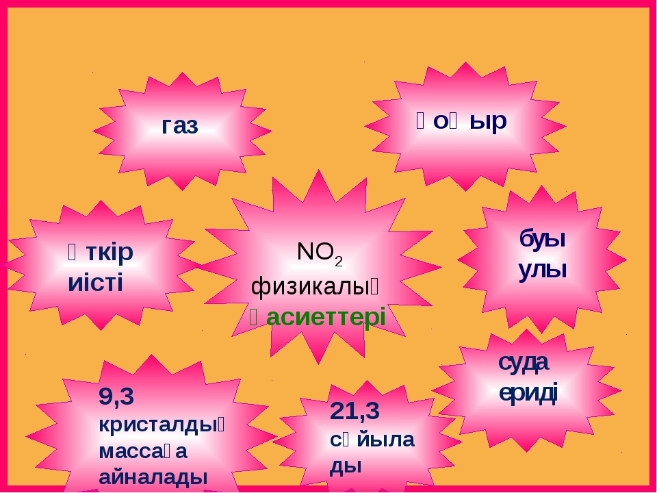 NO2 физикалық қасиеттері қоңыр буы улы газ 21,3 сұйылады 9,3 кристалдық масс...